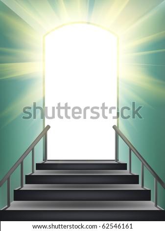Door in paradise. Element of design. - stock photo