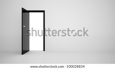 Door in the wall black on white - stock photo