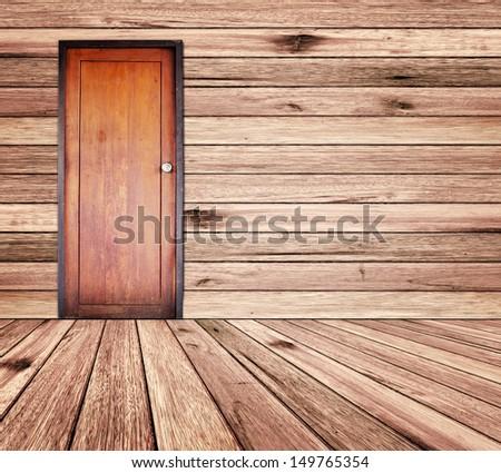 Door in wood room. - stock photo