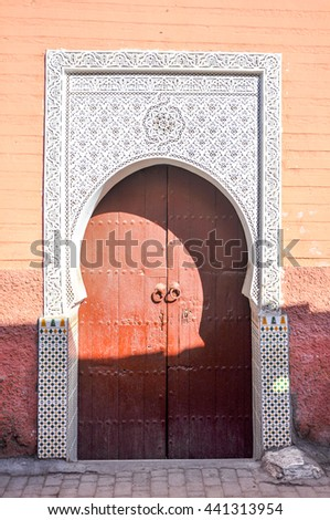 door Islamic architecture in Marrakesh in Morocco - stock photo