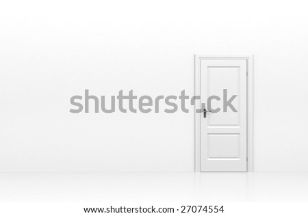 Door isolated on white - stock photo