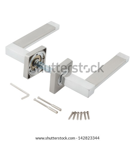 Door Knob assembly with bolts and screws on White Background