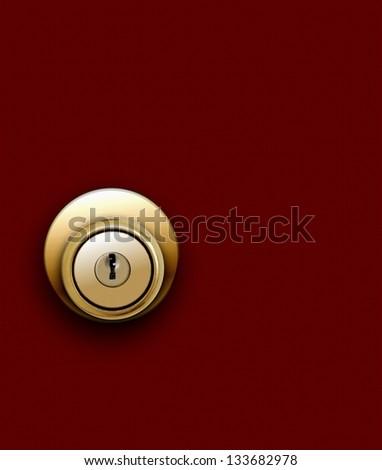 Door knob on red - stock photo