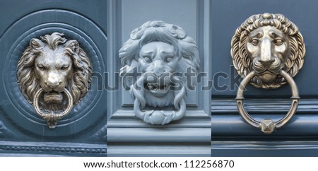 Door knockers made as lions heads - stock photo