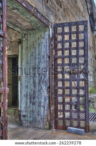 Door Leading to the Exercise Yard in Eastern State Penitentiary, Philadelphia, Pennsylvania - stock photo