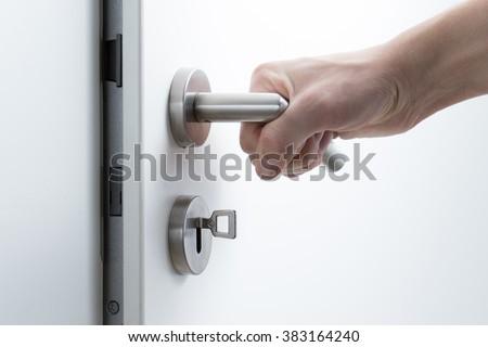 Door lock and handle - stock photo