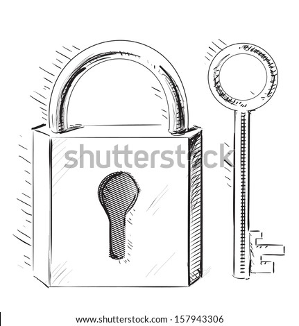 door lock and key black and white. Door Lock And Key Sketch Isolated On White Black A