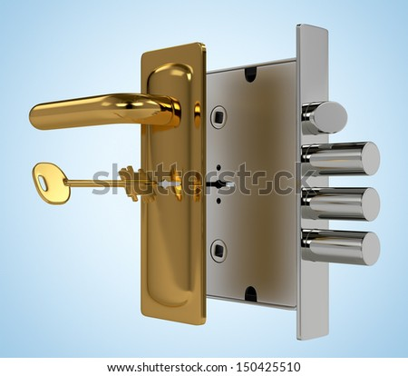 Door lock with key on blue background - stock photo