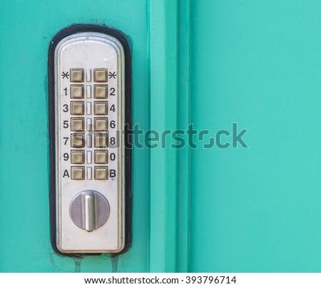 door lock with keypad outside laboratory room - stock photo