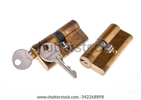 Door locks and keys isolated on white background - stock photo