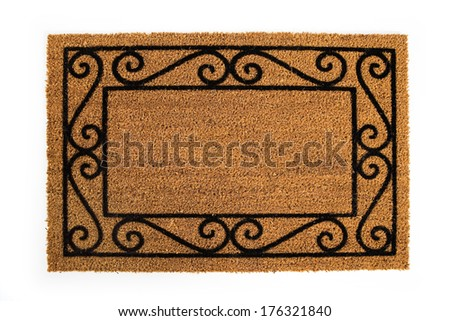 Door Mat: Blank Mat For Inserting Text - stock photo