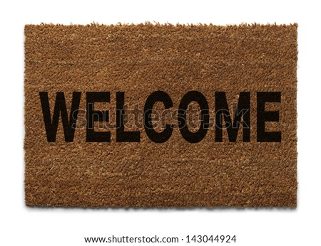Door Mat From Top View Isolated on White Background. - stock photo