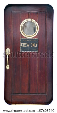 door of a old sailing ship  - stock photo