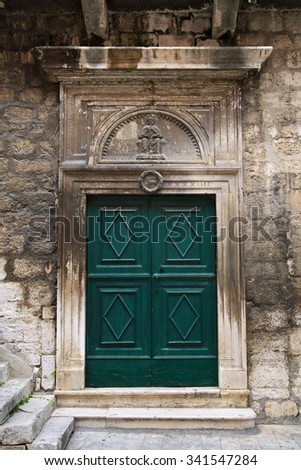 Door of an ancient house in Å ibenik, Croatia