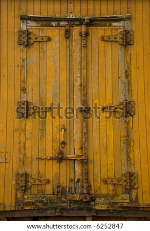 Door of an old train boxcar - stock photo
