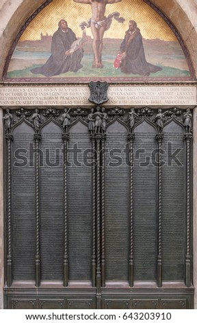 ninety-five theses 1517 luther posts the 95 theses an the 33-year-old martin luther posted theses on the door of the castle church in wittenberg.
