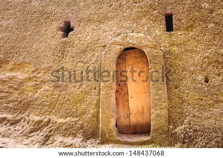 Door of the church of Lalibela, Ethiopia - stock photo