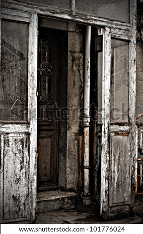 Door of the old house. photos in the style of horror. - stock photo