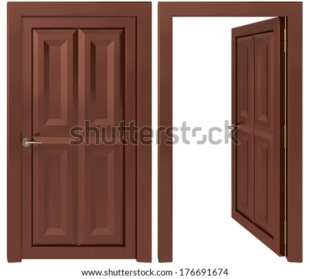 door on a white background - stock photo
