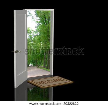 Door open in the real world - stock photo