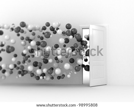 Door opening for a stream of abstract spheres - stock photo