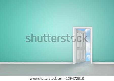 Door opening to reveal blue sky in blue room - stock photo