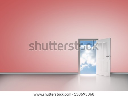 Door opening to reveal blue sunny sky in pink room - stock photo