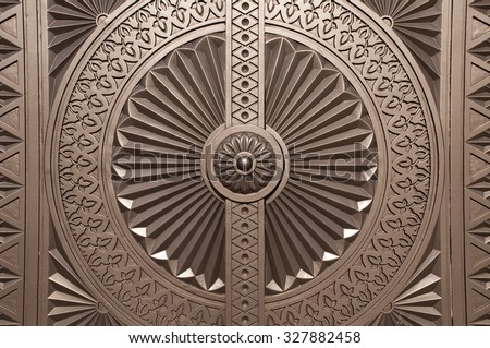 Door ornament at the Entrance of the Sultan Qaboos Grand Mosque, Muscat, Oman - stock photo