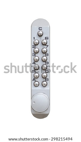 Door pin keypad with numbers isolated on white background - stock photo