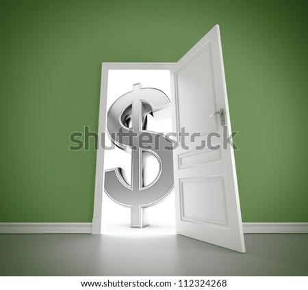 door to big money, closeup - stock photo