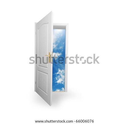 Door to new world. Open door to new life conceptual. Other original versions of this concept available in my portfolio. - stock photo