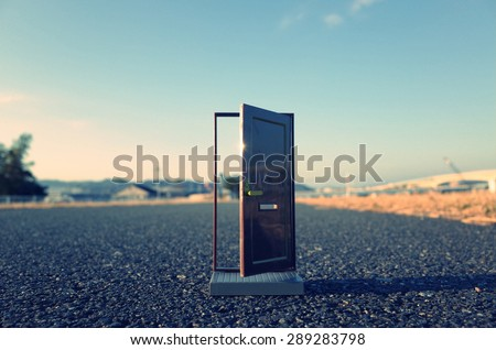 Door to the future - stock photo