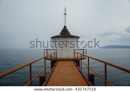 Door to the old lighthouse. Lake Baikal, Russia - stock photo