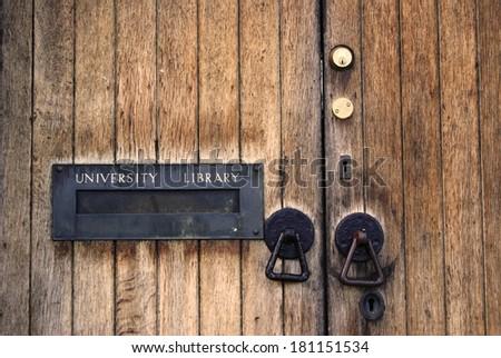 Door to the University Library - stock photo