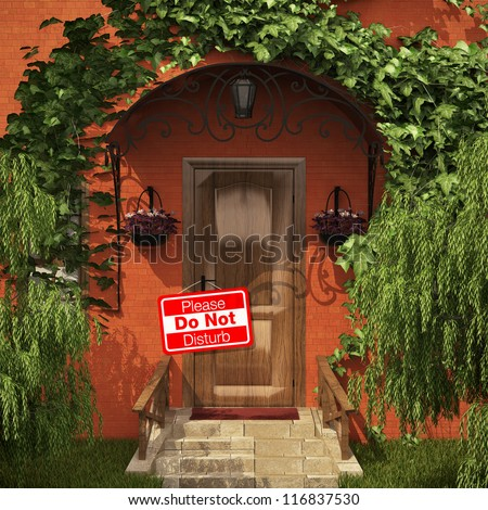 "Door with the ""do not disturb"" table - stock photo"
