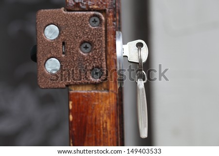 door with the key and key fob