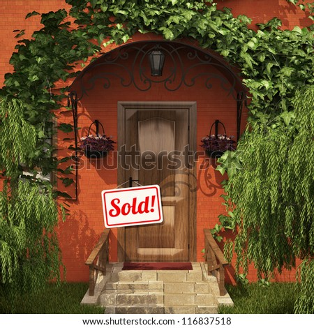 """Door with the """"Sold!"""" table - stock photo"""
