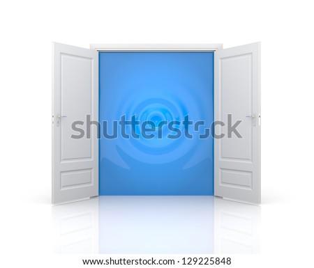 Door with water ripple - stock photo