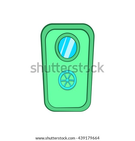 Door with window and lock wheel icon cartoon style - stock photo