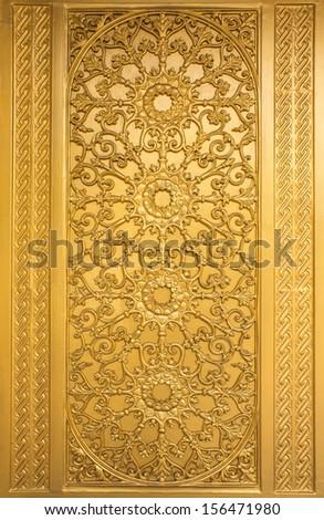 Door woodcarving in temple, Thailand - stock photo