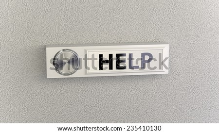 Doorbell on concrete wall with help nameplate. Conceptional image for service, help and support questions - stock photo