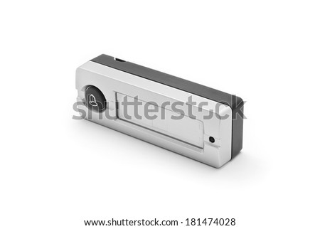 doorbell ring button on white - stock photo