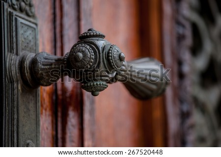 Doorhandle on doors of Museum of Art History, Vienna - stock photo