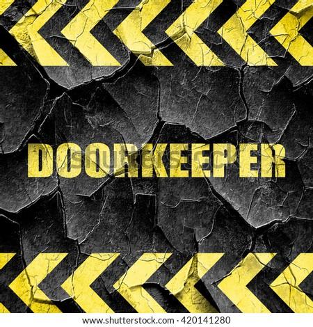 doorkeeper, black and yellow rough hazard stripes - stock photo