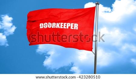 doorkeeper, 3D rendering, a red waving flag - stock photo