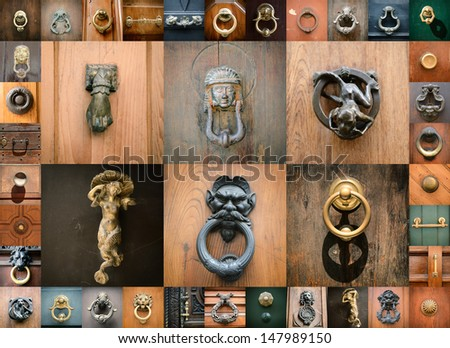 doorknobs of ancient doors in Rome, collection of beautiful vintage architectural details - stock photo