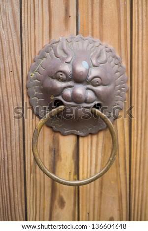 Doorknocker with head of lion - stock photo