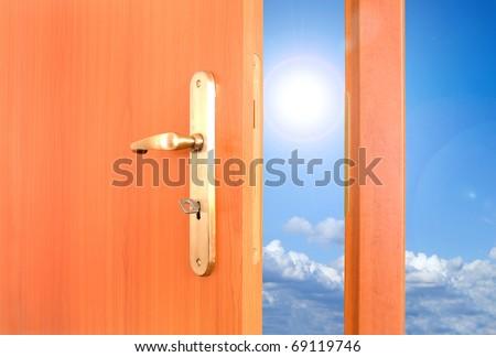 Doors against blue sky. - stock photo