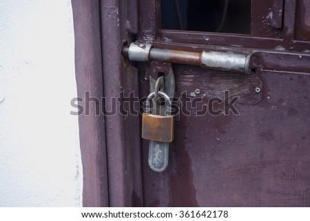 Doors and Key lock - stock photo