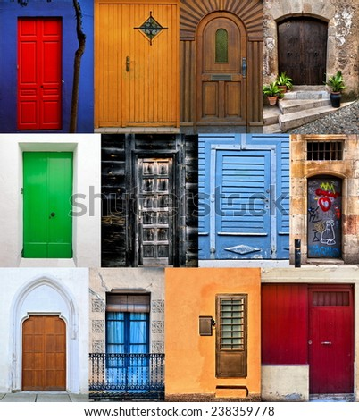Doors collage / Colorful doors / Doors montage - stock photo